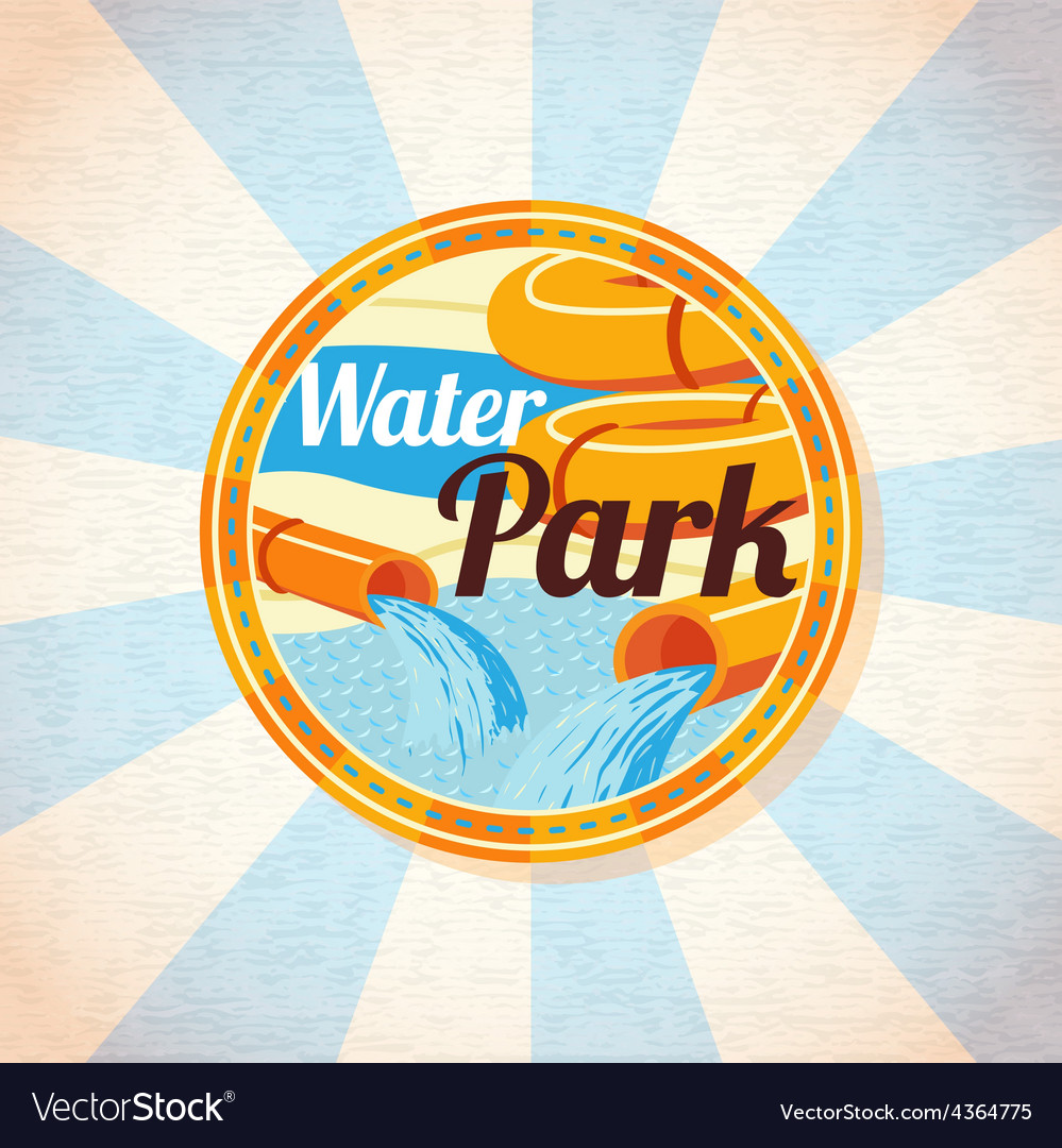 Water park tubes with pool retro background vector | Price: 3 Credit (USD $3)