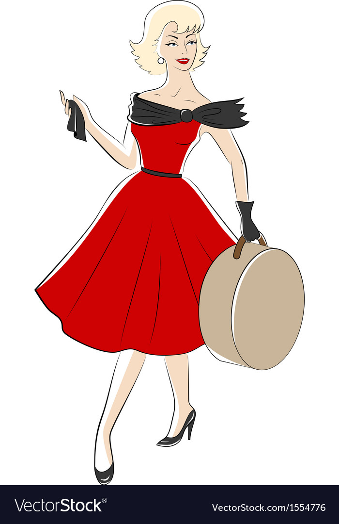 50s woman vector | Price: 1 Credit (USD $1)