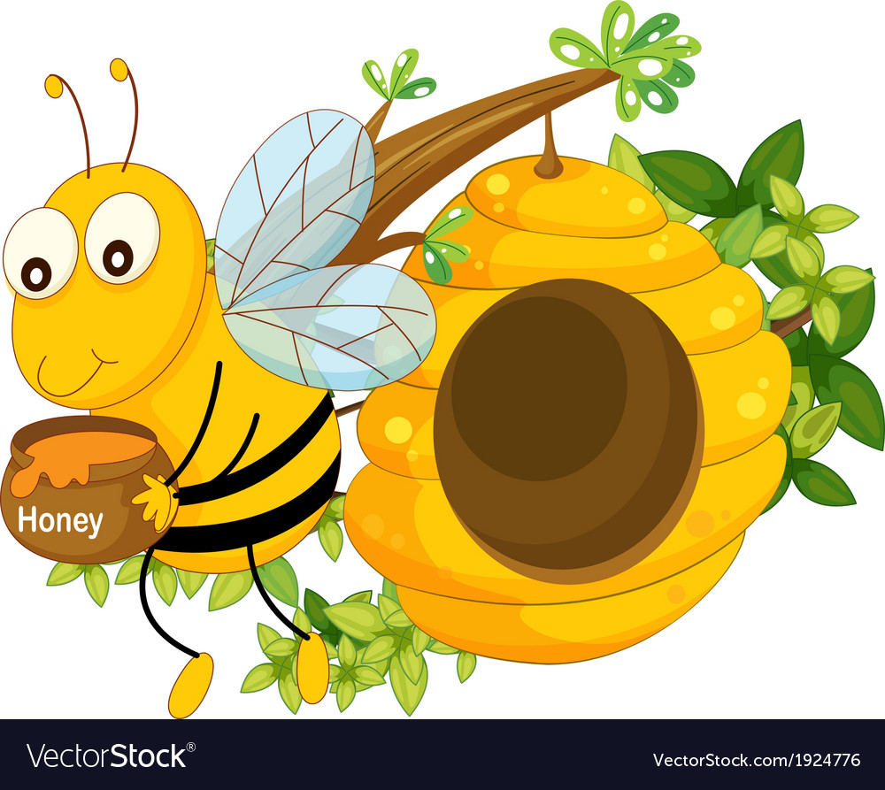 A bee holding a pot of honey near the beehive vector | Price: 3 Credit (USD $3)