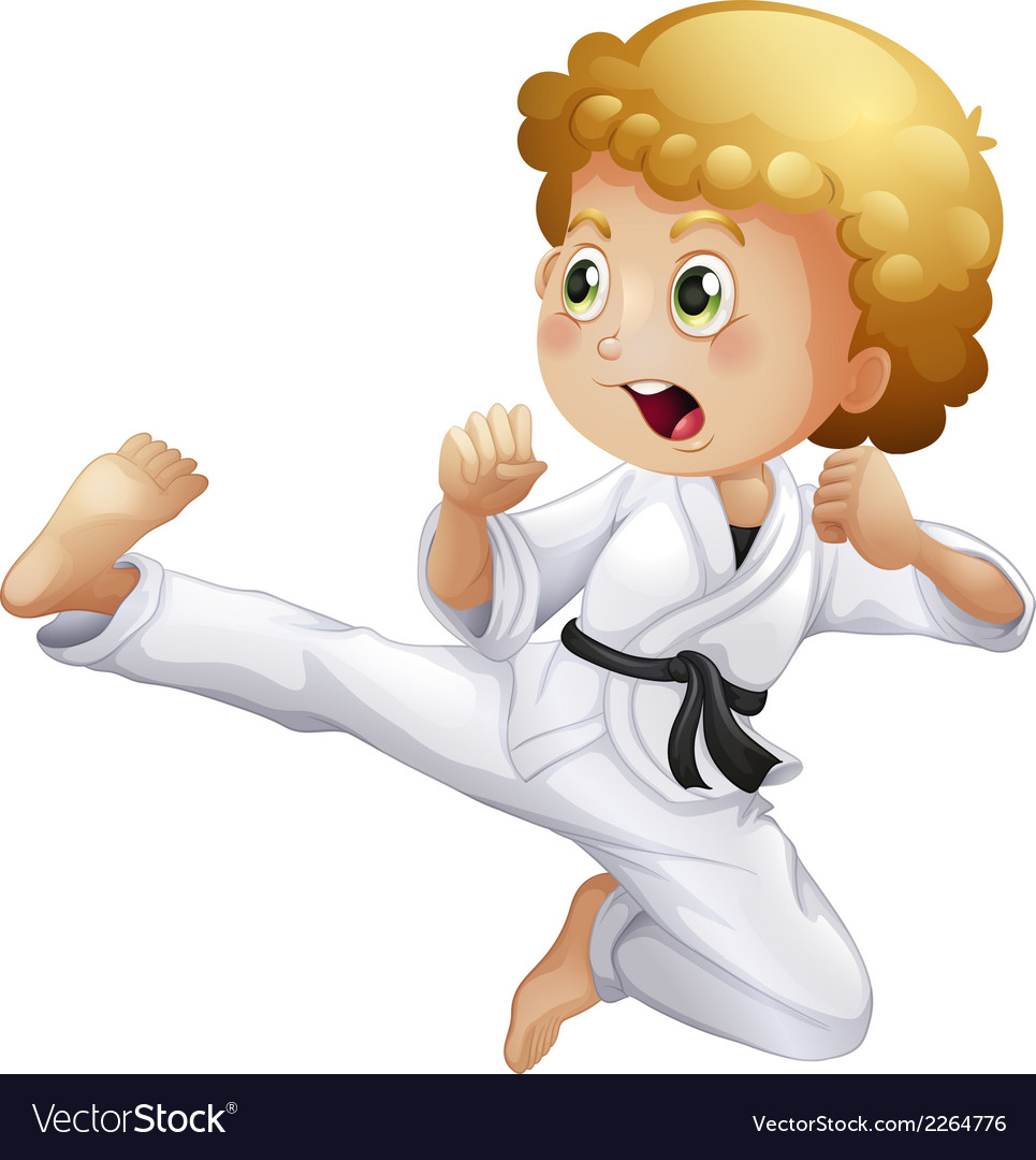 A cute little boy doing karate vector | Price: 1 Credit (USD $1)