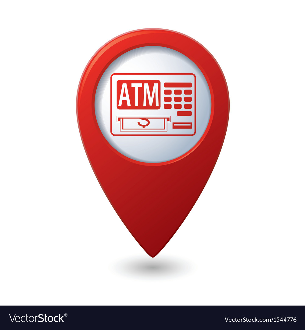 Atm icon red pointer vector | Price: 1 Credit (USD $1)