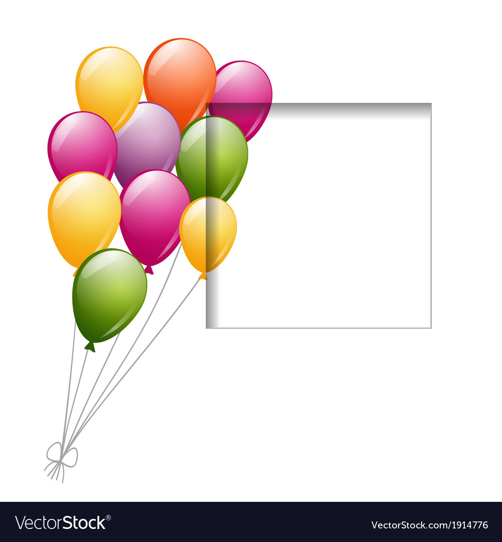 Balloons and a frame vector | Price: 1 Credit (USD $1)