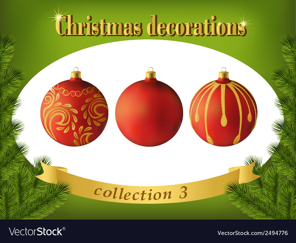 Christmas decorations collection of red glass vector | Price: 1 Credit (USD $1)