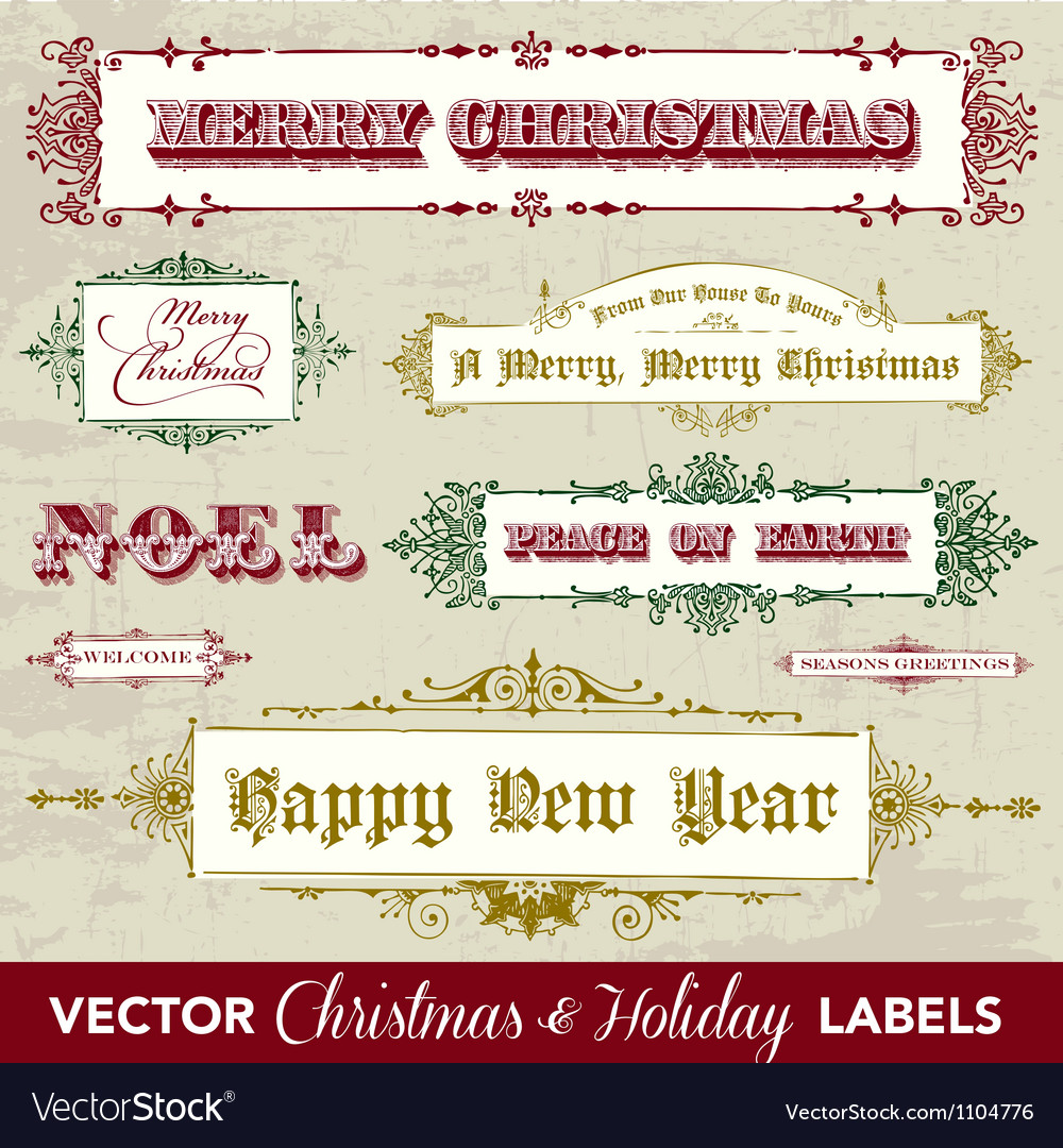 Collection of vintage holiday frames vector | Price: 1 Credit (USD $1)