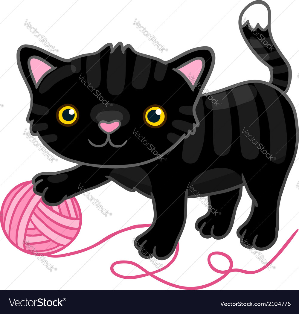 Cute cartoon black cat with claw vector | Price: 1 Credit (USD $1)