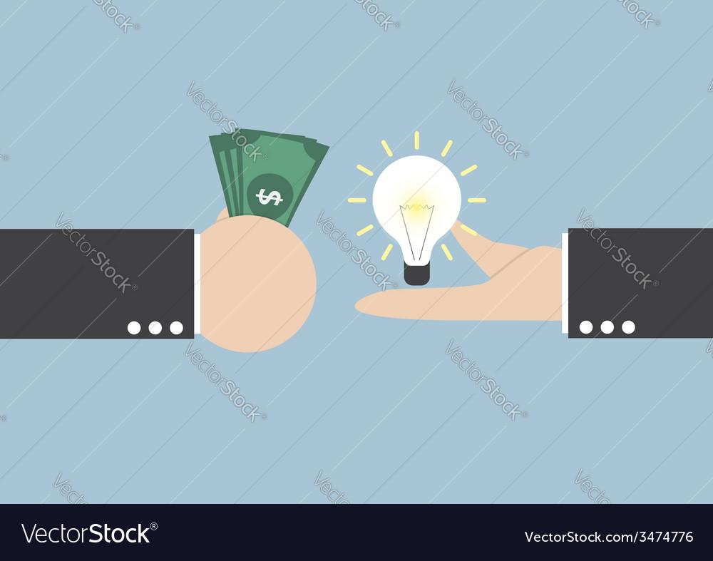 Exchange light bulb idea and money vector | Price: 1 Credit (USD $1)