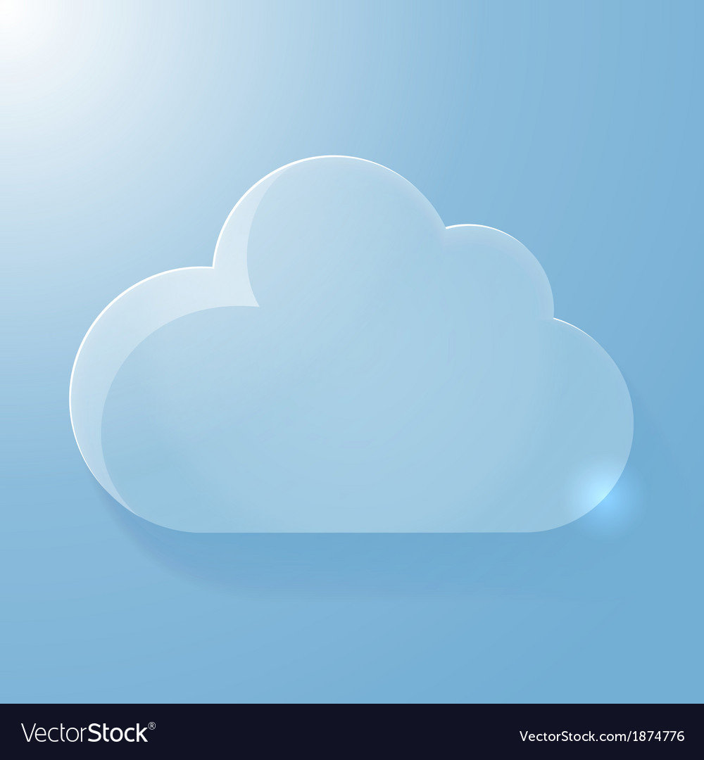 Glossy blue cloud icon with light vector | Price: 1 Credit (USD $1)