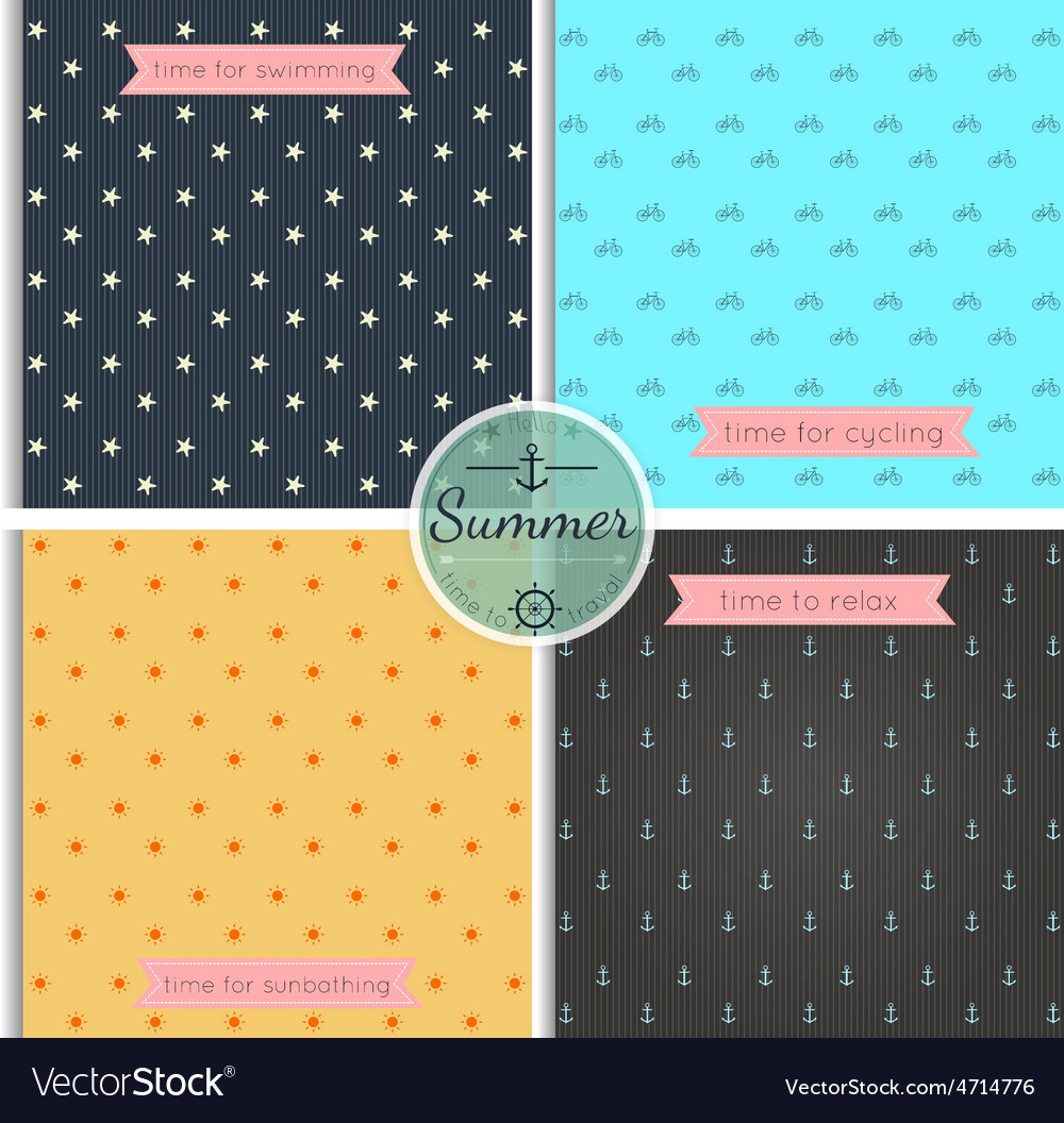Hipster background summer time pattern set vector | Price: 1 Credit (USD $1)