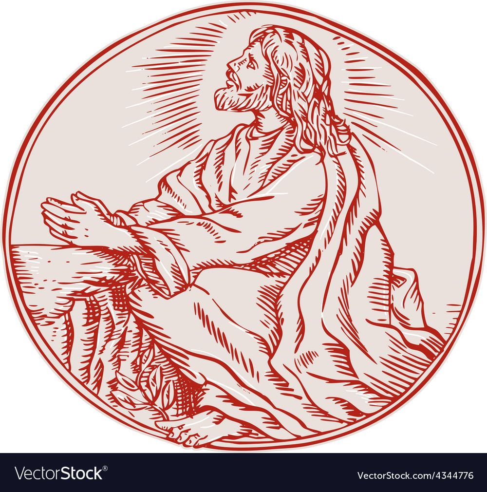 Jesus christ agony in the garden etching vector | Price: 1 Credit (USD $1)