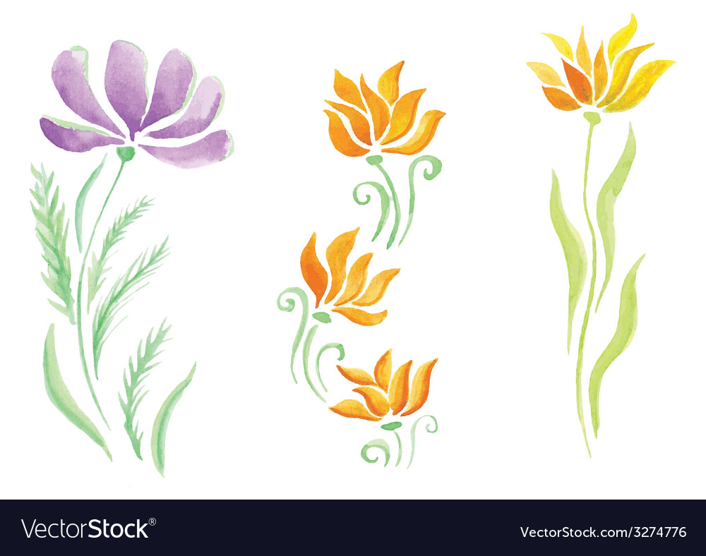 Little beautiful watercolor floral bouquet vector | Price: 1 Credit (USD $1)