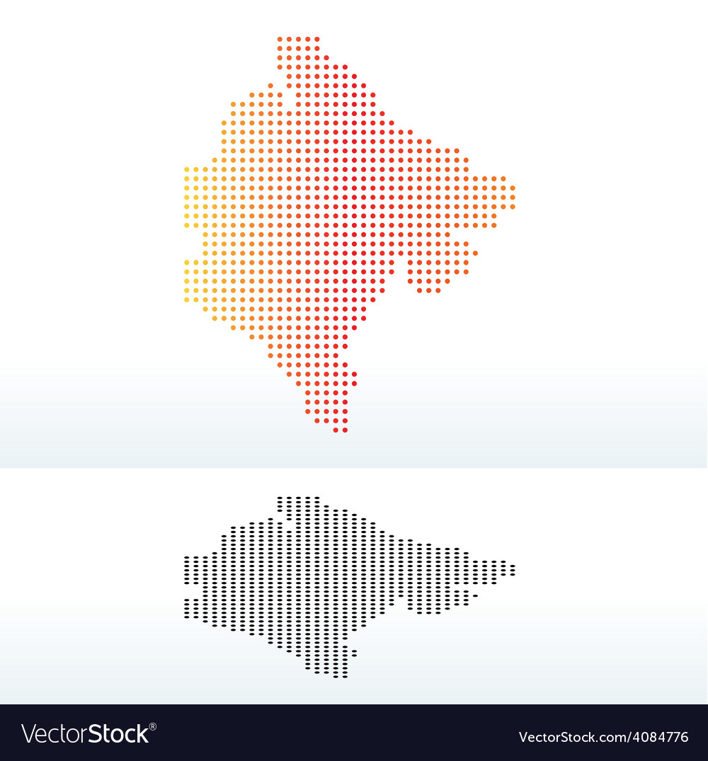 Map of montenegro with dot pattern vector | Price: 1 Credit (USD $1)