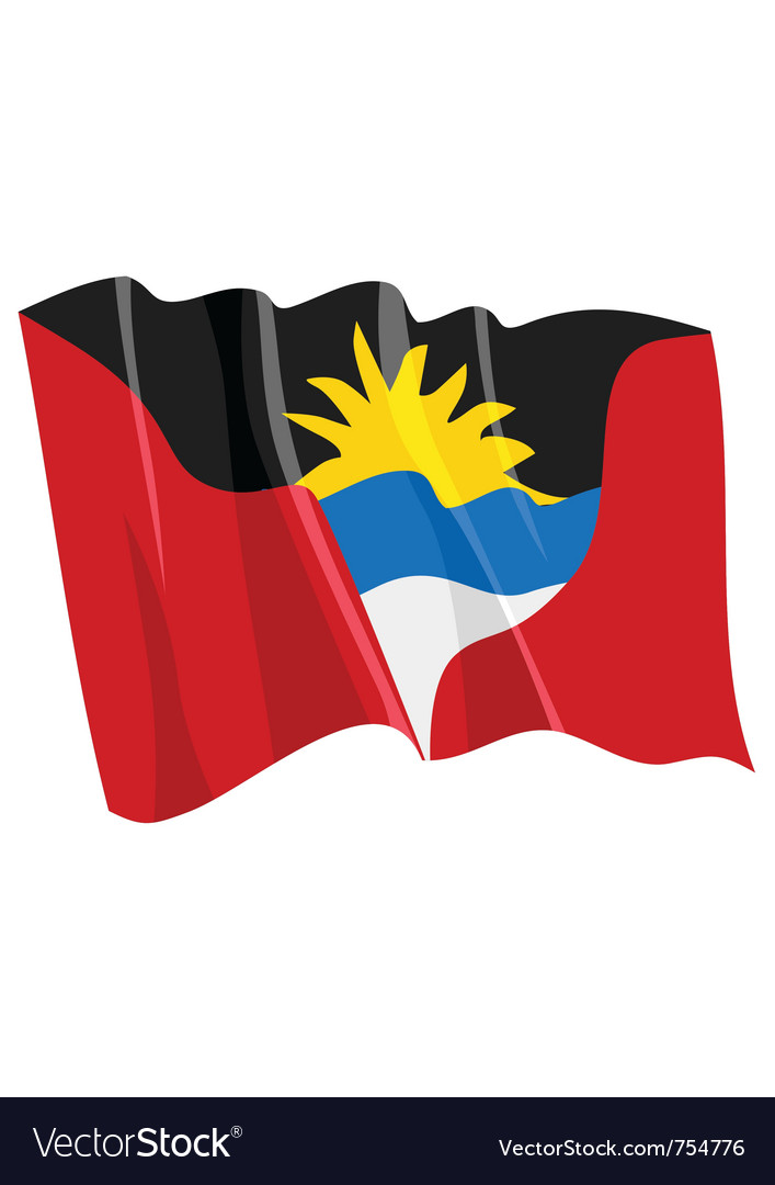 Political waving flag of antigua and barbuda vector | Price: 1 Credit (USD $1)