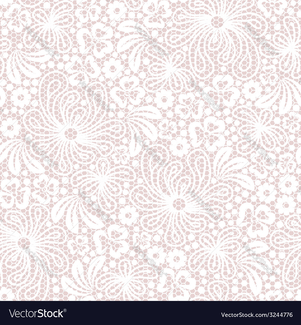 Seamless white lace on pink background vector | Price: 1 Credit (USD $1)