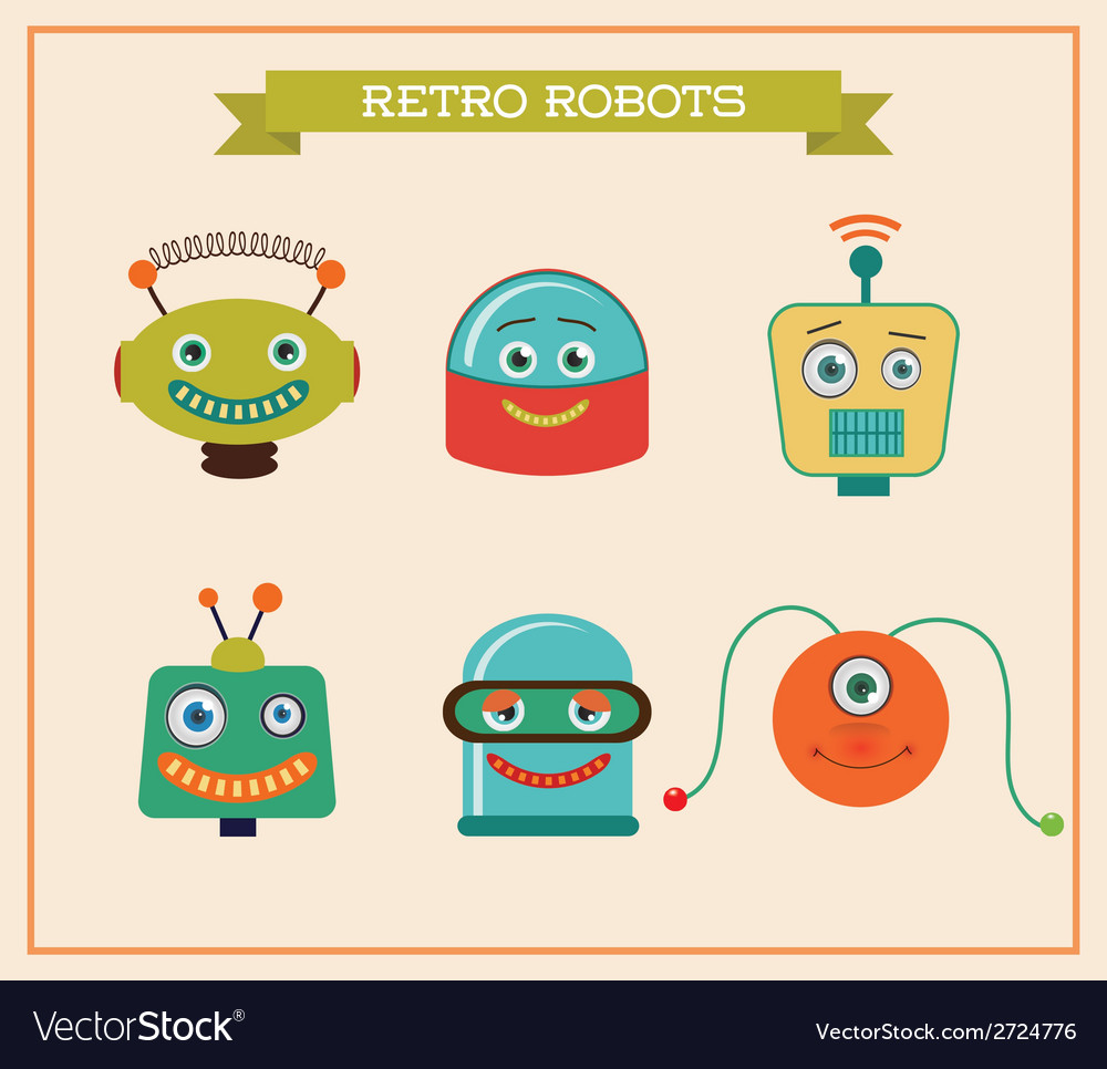 Set of cute retro vintage robots heads vector | Price: 1 Credit (USD $1)