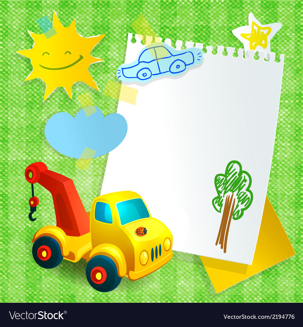 Toy construction machine paper postcard template vector | Price: 1 Credit (USD $1)