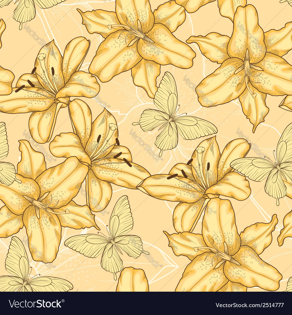 Background with yellow lilies and butterflies vector | Price: 1 Credit (USD $1)