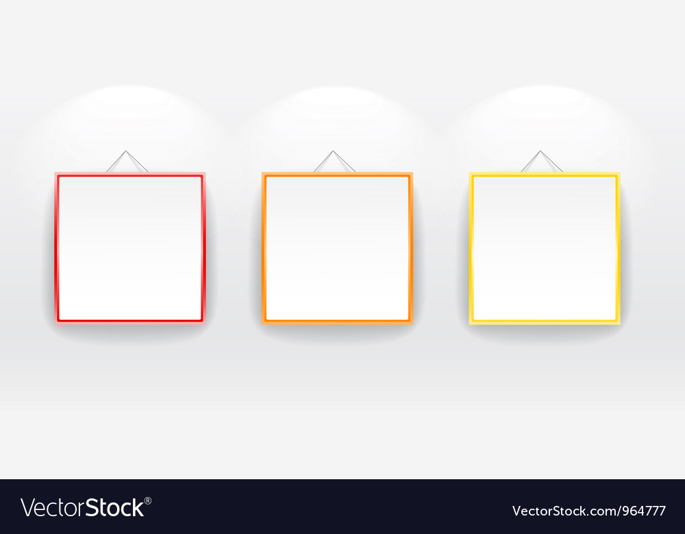 Blank boards with color frames on wall vector | Price: 1 Credit (USD $1)