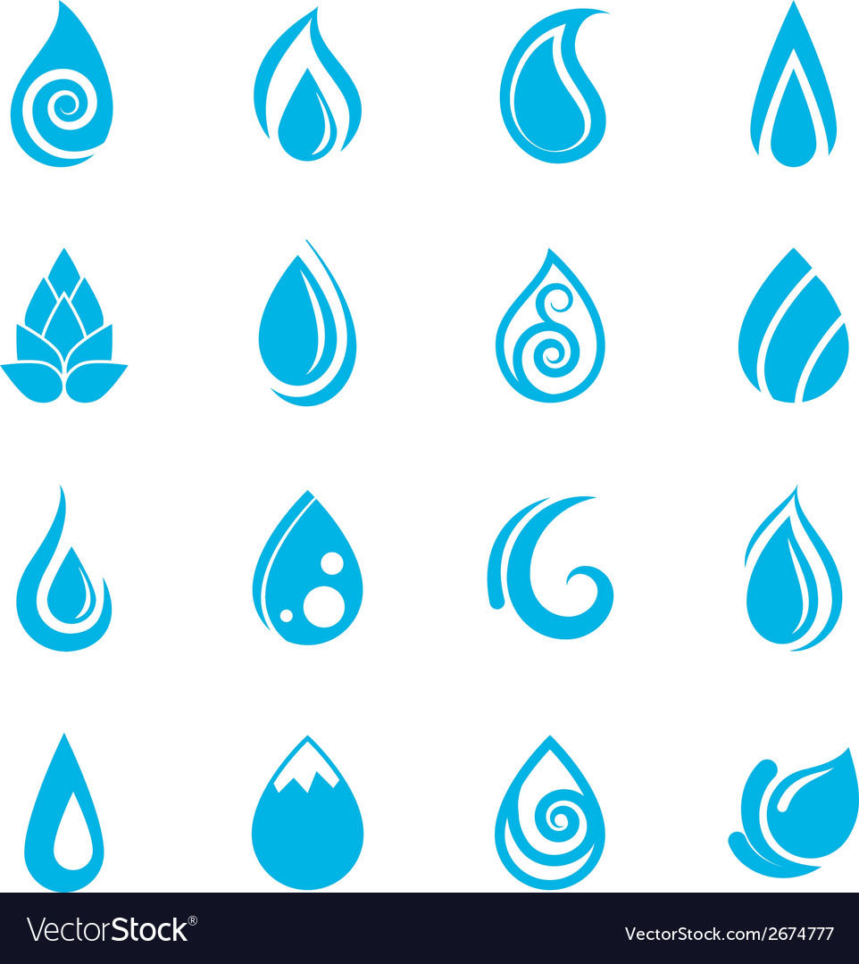 Blue water drops icons vector | Price: 1 Credit (USD $1)
