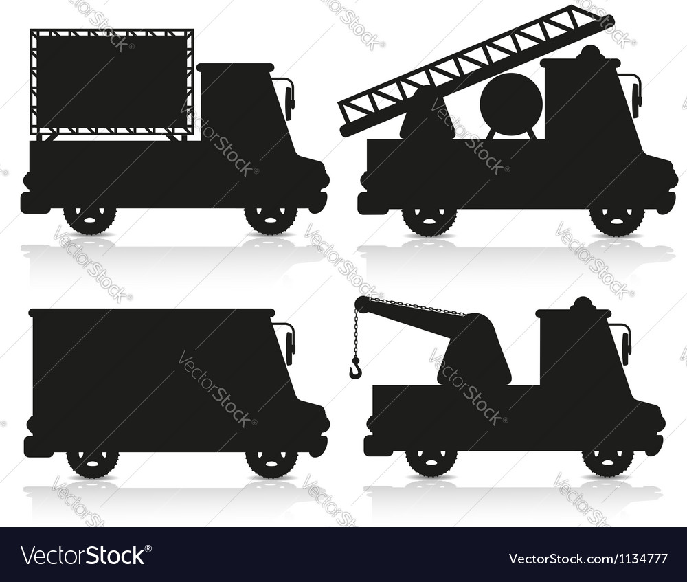 Car icon set black silhouette vector | Price: 1 Credit (USD $1)