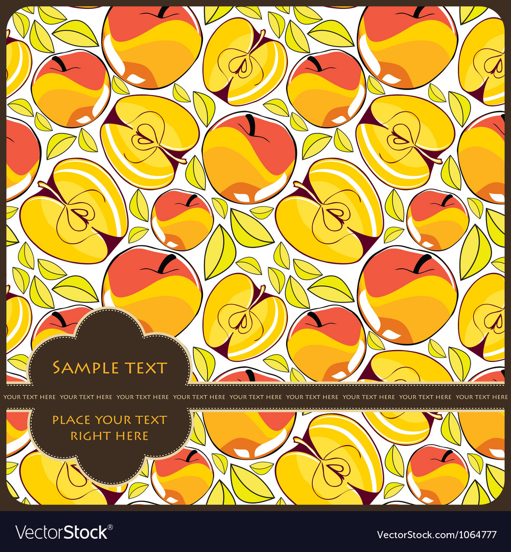 Card with apples vector | Price: 1 Credit (USD $1)