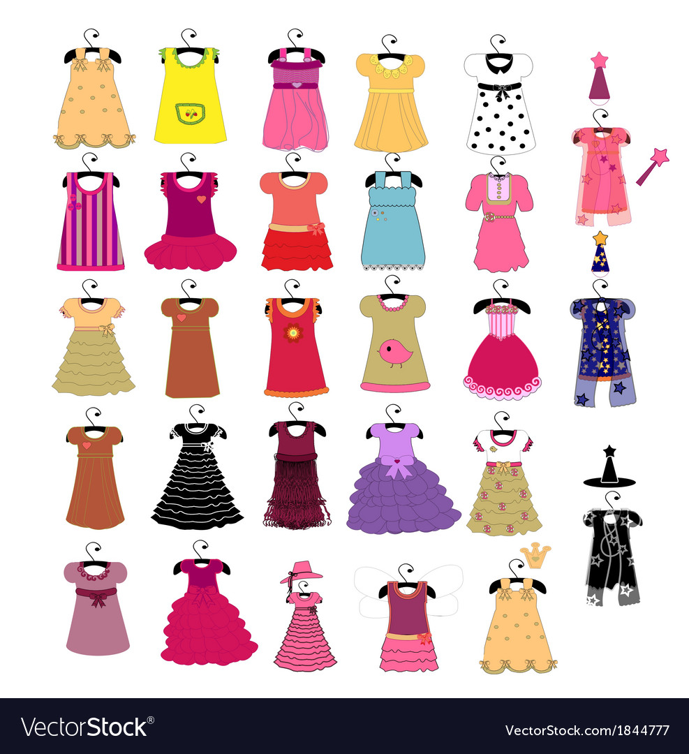 Fashionable beautiful clothes for little girls vector | Price: 1 Credit (USD $1)