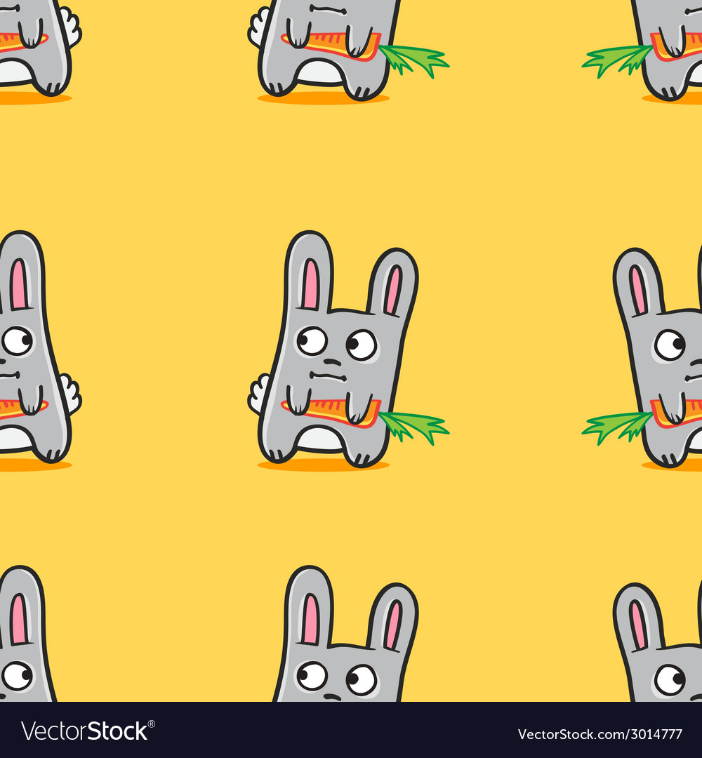 Funny cartoon bunnies seamless pattern vector | Price: 1 Credit (USD $1)