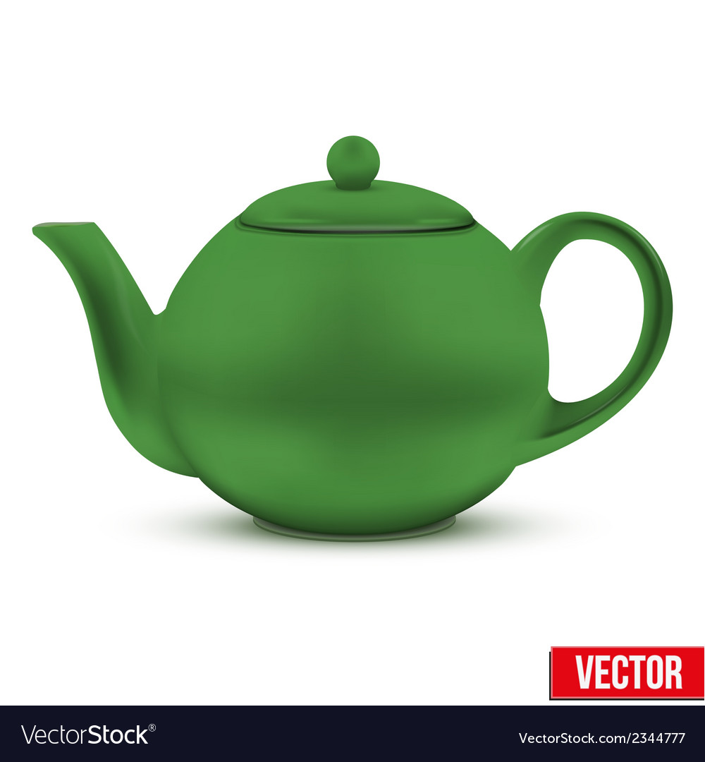 Green ceramic teapot vector | Price: 1 Credit (USD $1)