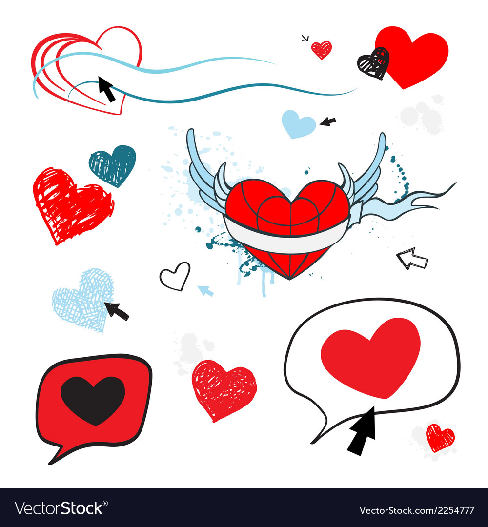 Hearts set design element vector | Price: 1 Credit (USD $1)