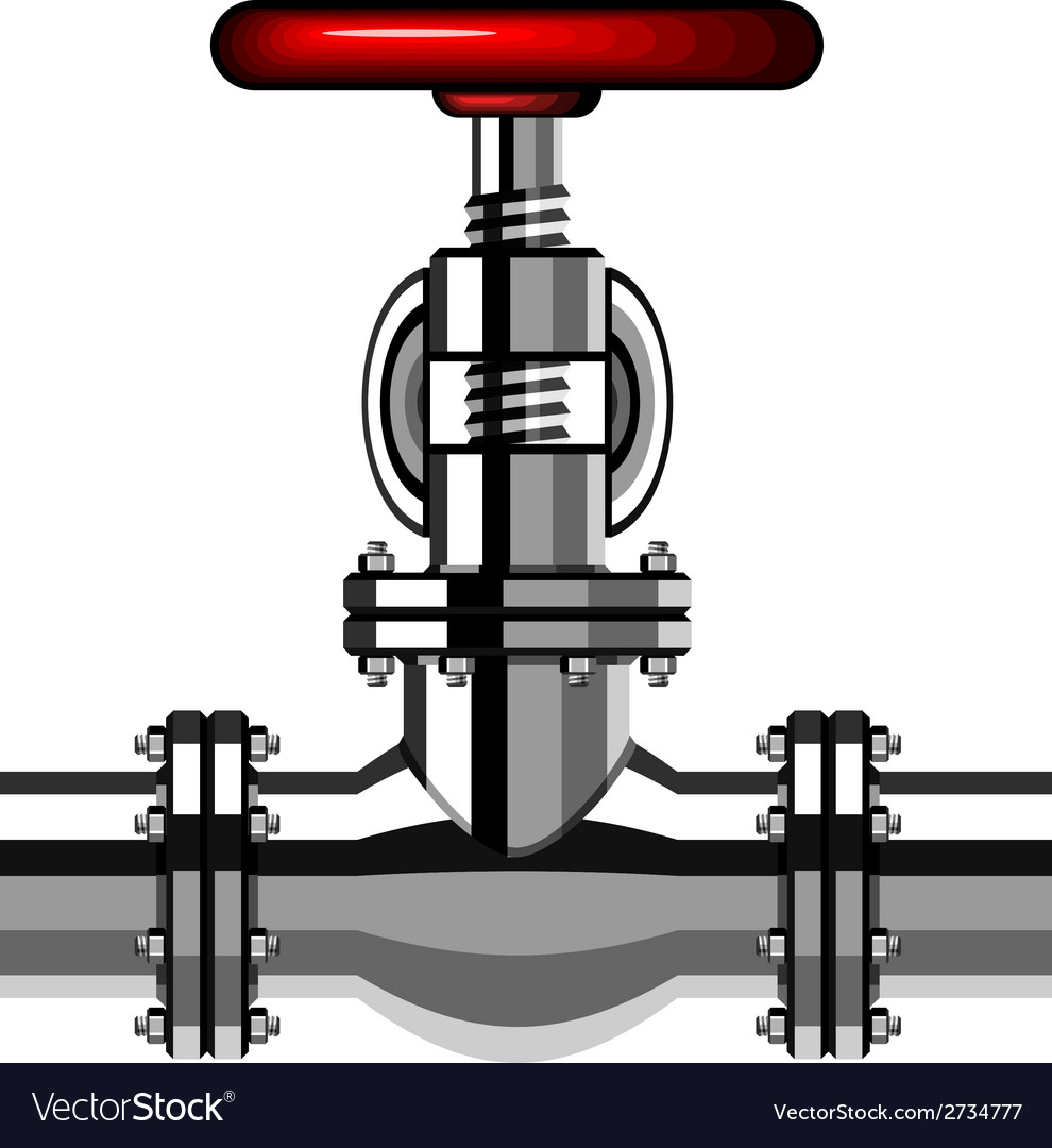 Industrial valve chrome red vector | Price: 1 Credit (USD $1)