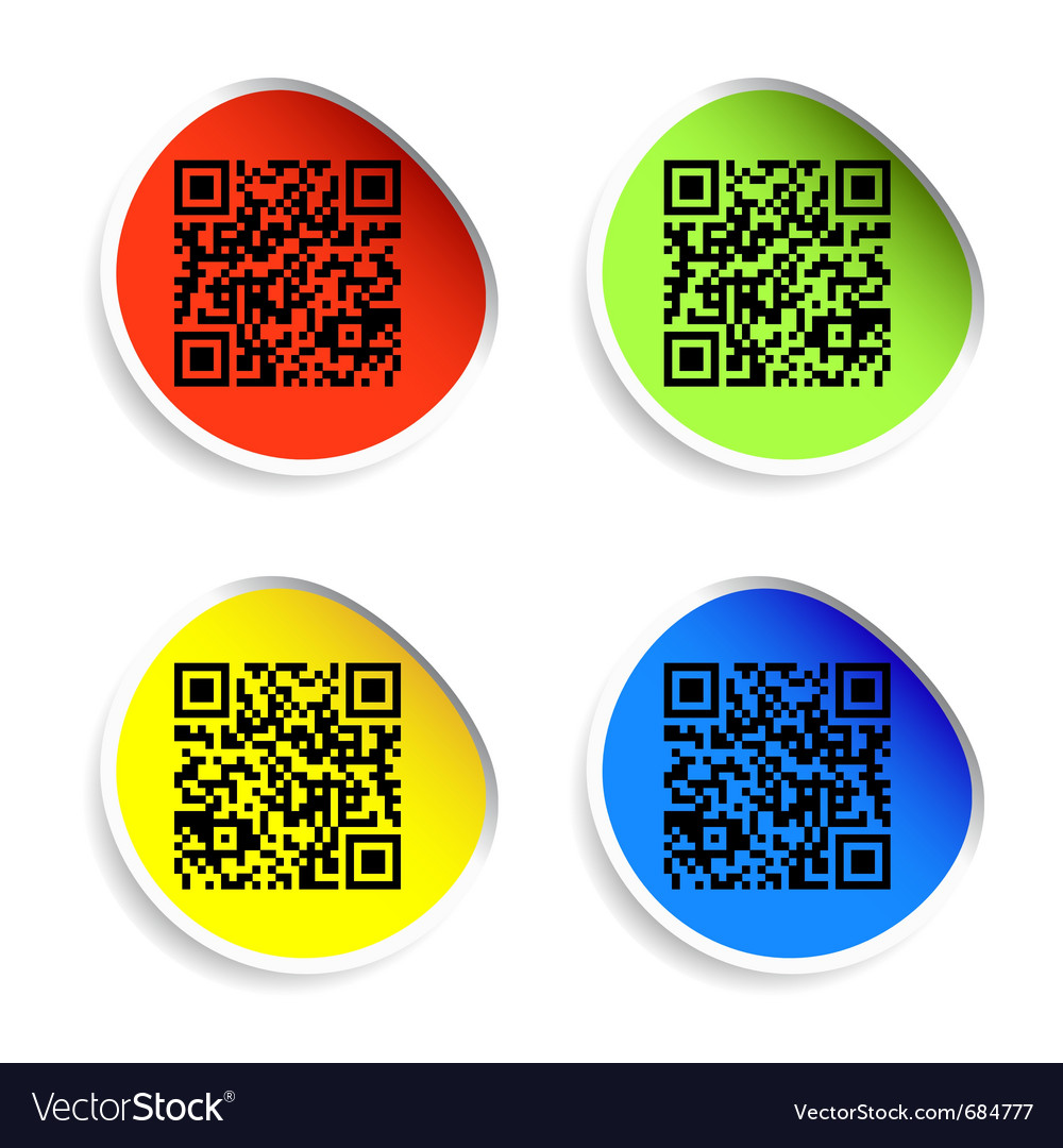 Modern bar codes set of labels with qr codes vector | Price: 1 Credit (USD $1)
