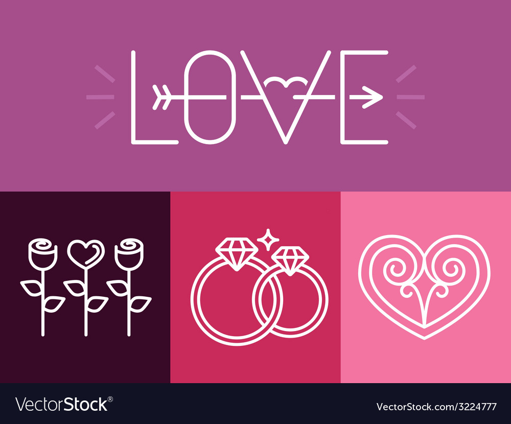 Outline love signs and logos vector | Price: 1 Credit (USD $1)
