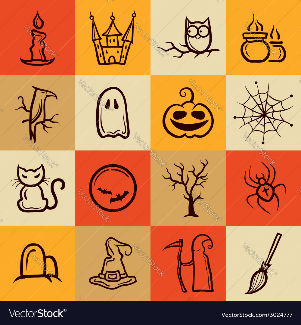 Set of retro graphical halloween icons vector | Price: 1 Credit (USD $1)
