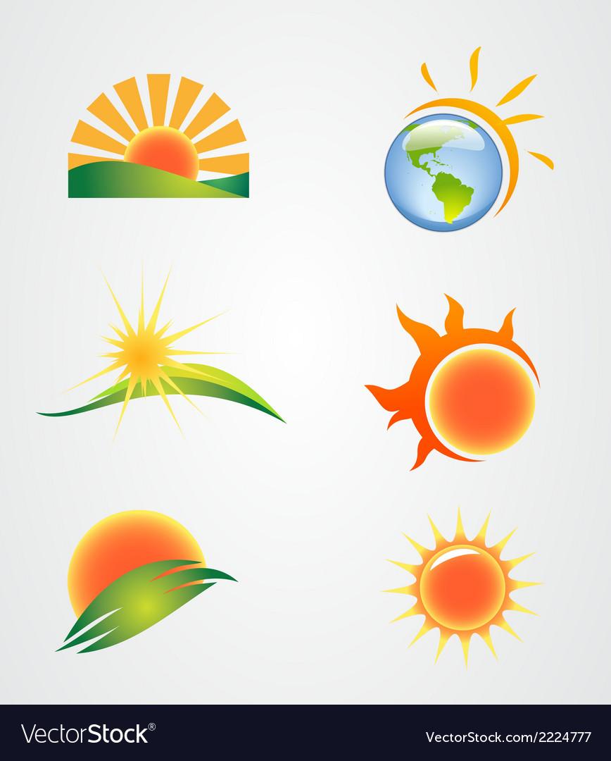 Set of the sun symbol icon vector | Price: 1 Credit (USD $1)