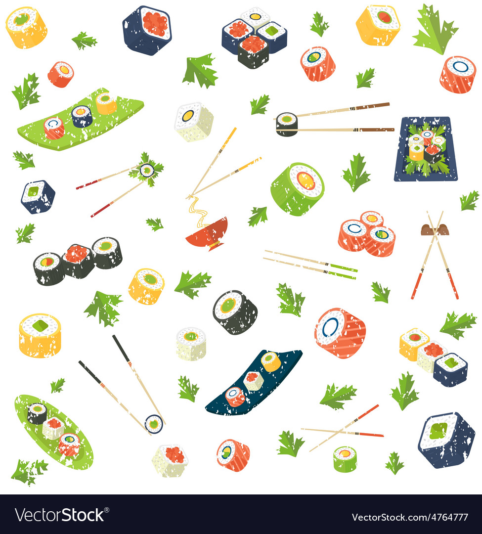 Sushi pattern vector | Price: 3 Credit (USD $3)