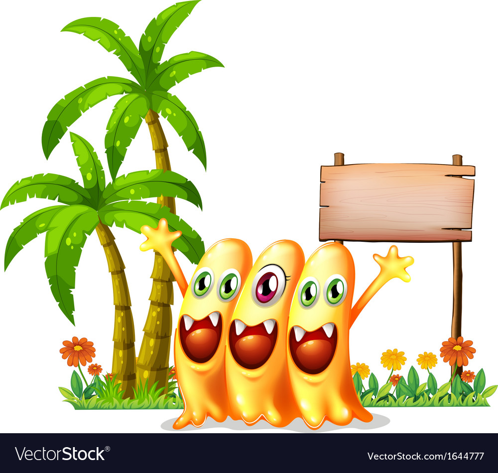 Three happy orange monster in front of the empty vector | Price: 3 Credit (USD $3)