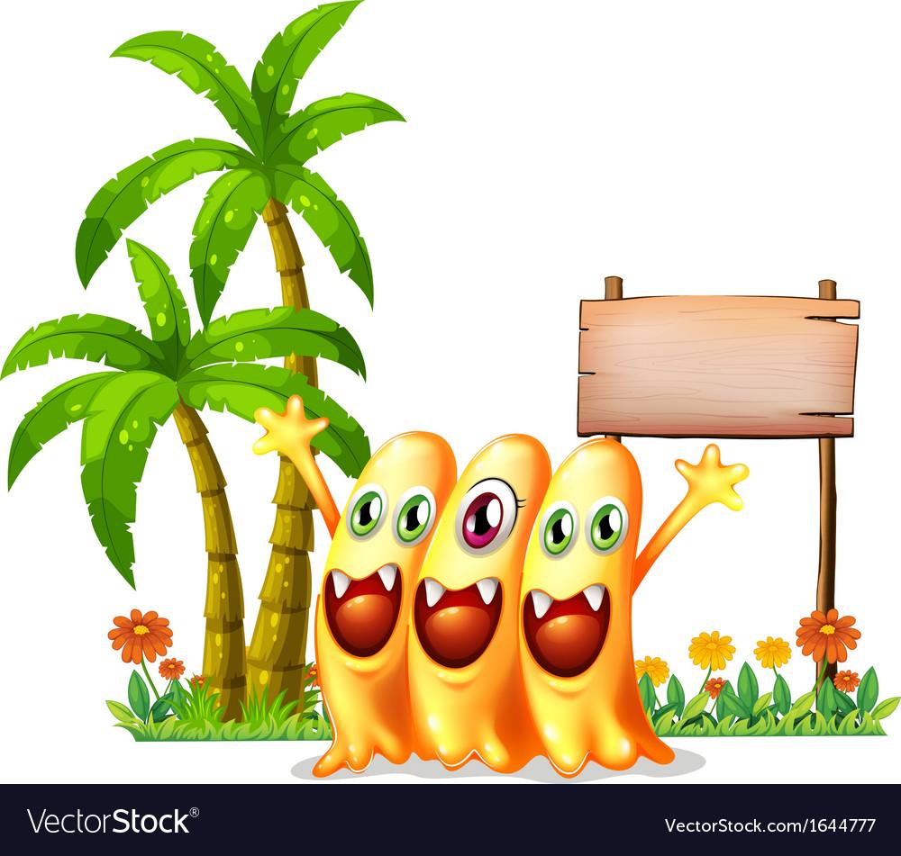 Three happy orange monster in front of the empty vector | Price: 3 Credit (USD $3)