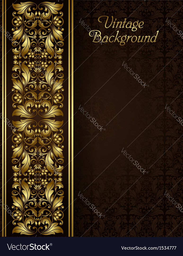 Vintage background with gold filigree border vector | Price: 1 Credit (USD $1)