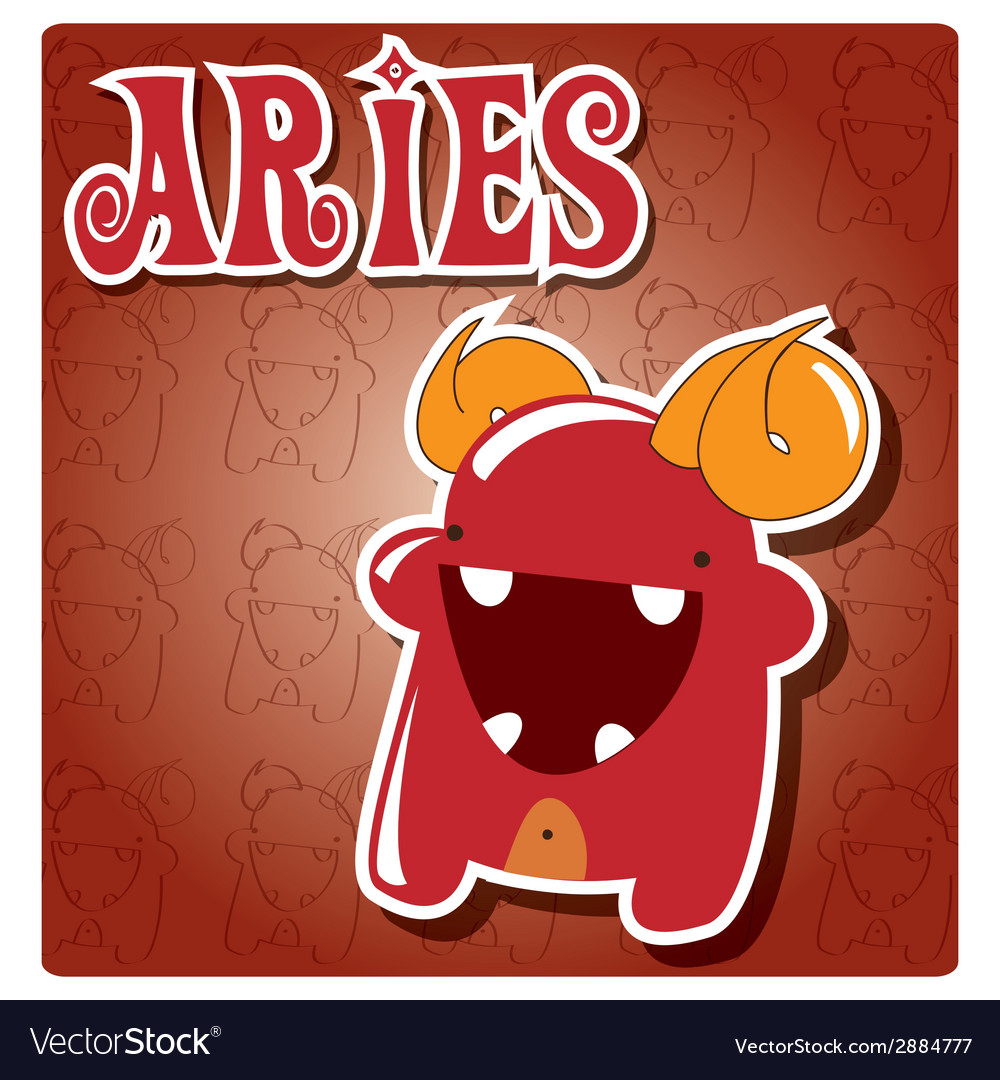 Zodiac sign aries with cute colorful monster vector | Price: 1 Credit (USD $1)