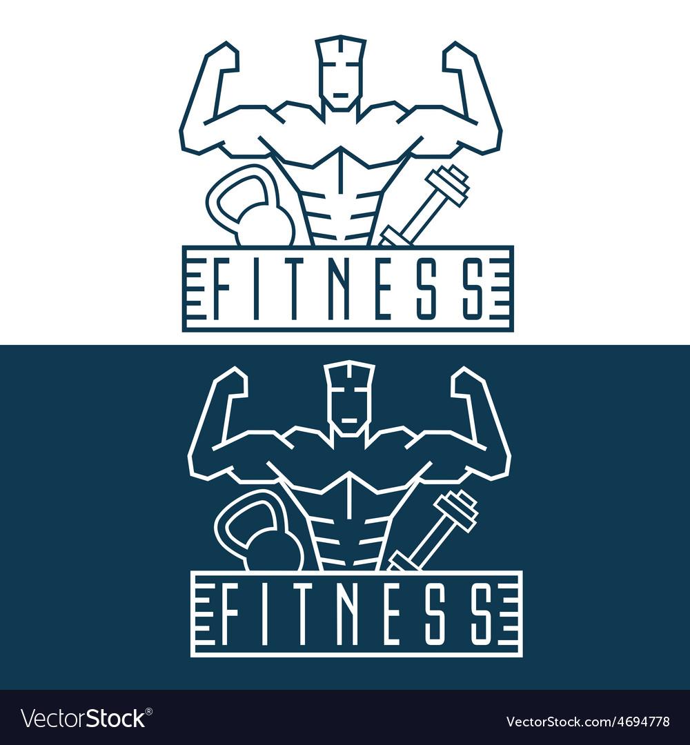 Bodybuilder fitness model line craft emblem vector | Price: 1 Credit (USD $1)