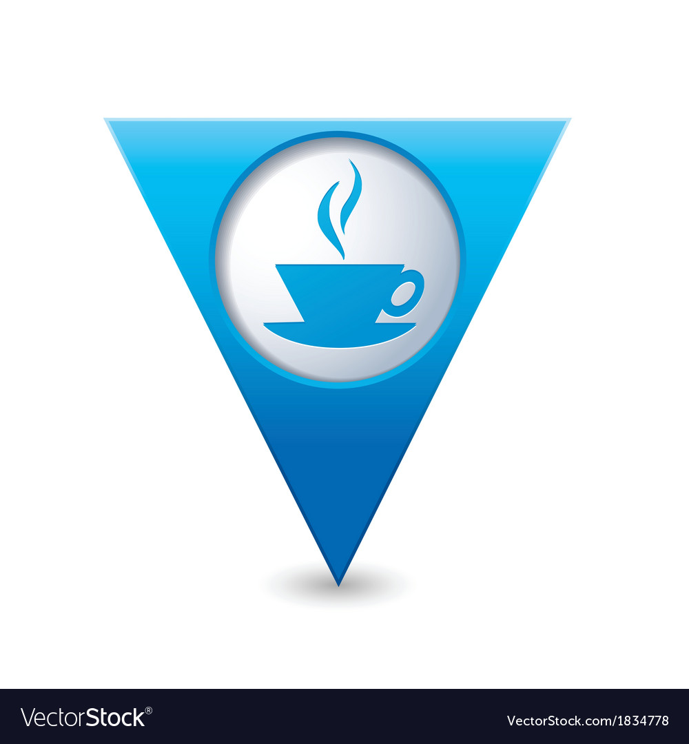 Cafe icon map pointer blue vector | Price: 1 Credit (USD $1)