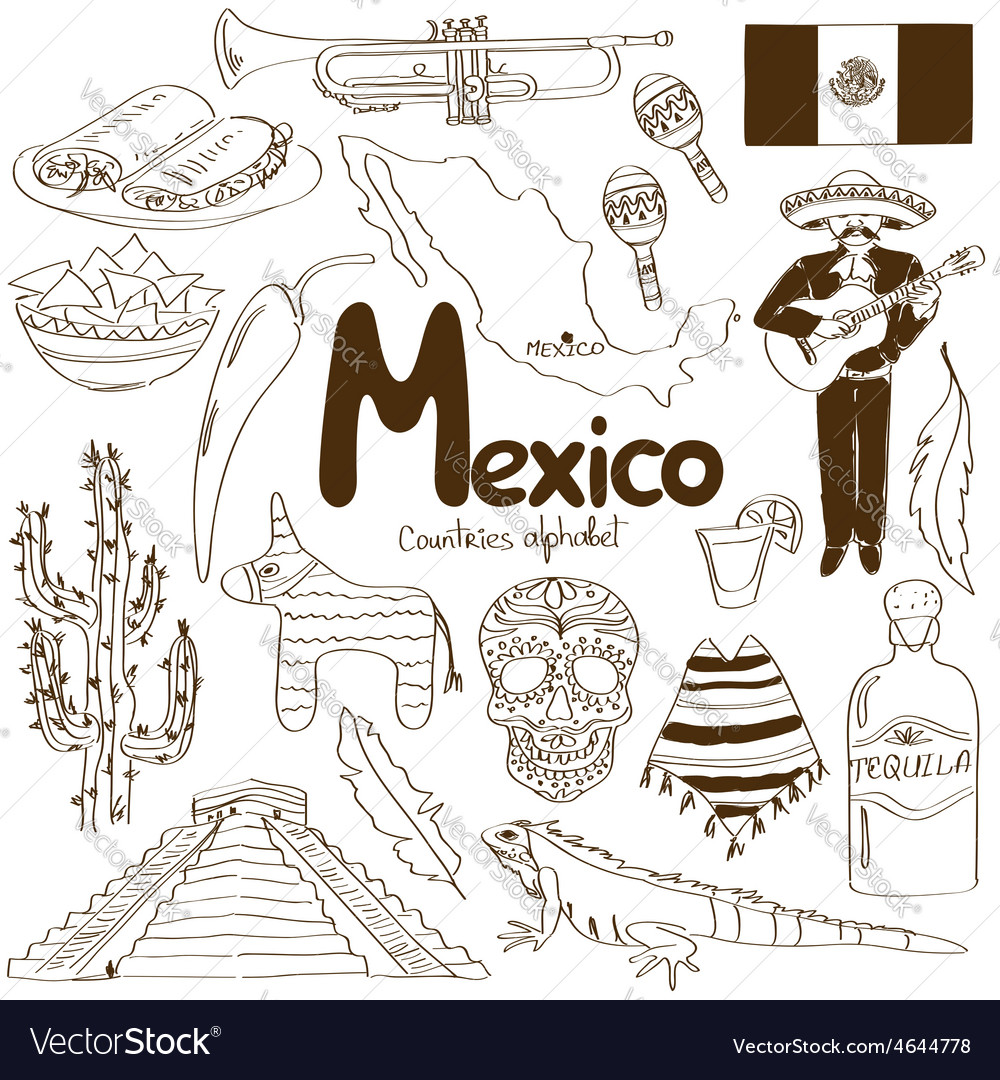 Collection of mexico icons vector | Price: 1 Credit (USD $1)