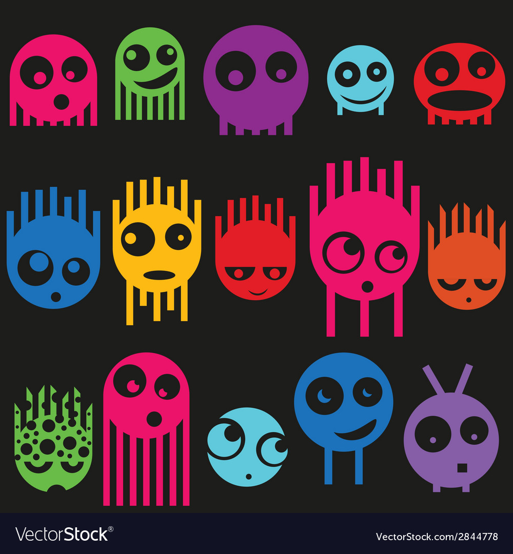Cute monsters seamless pattern vector | Price: 1 Credit (USD $1)