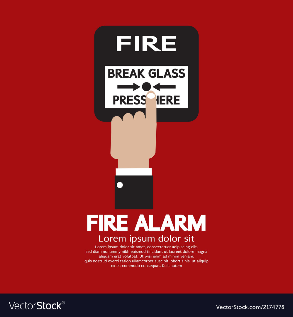 Hand push fire alarm button vector | Price: 1 Credit (USD $1)