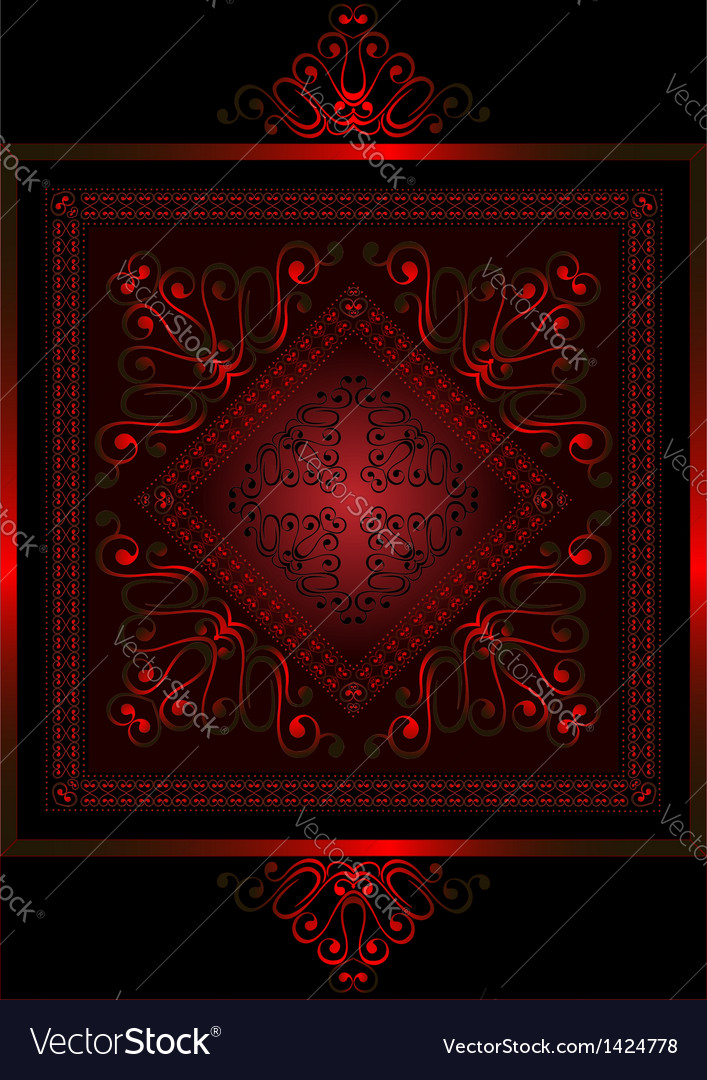 Satin frame with red openwork ornament vector | Price: 1 Credit (USD $1)