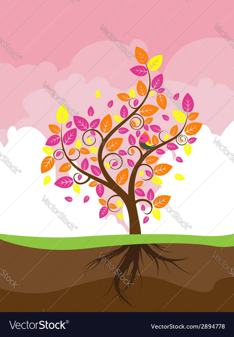 Stylized autumn tree2 vector | Price: 1 Credit (USD $1)