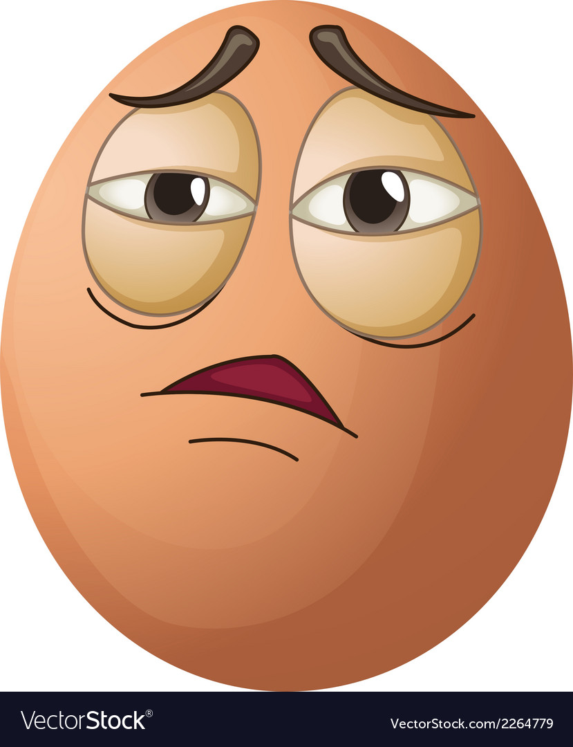 An egg with a tired face vector | Price: 1 Credit (USD $1)