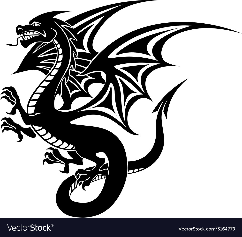 Black dragon tattoo vector | Price: 1 Credit (USD $1)