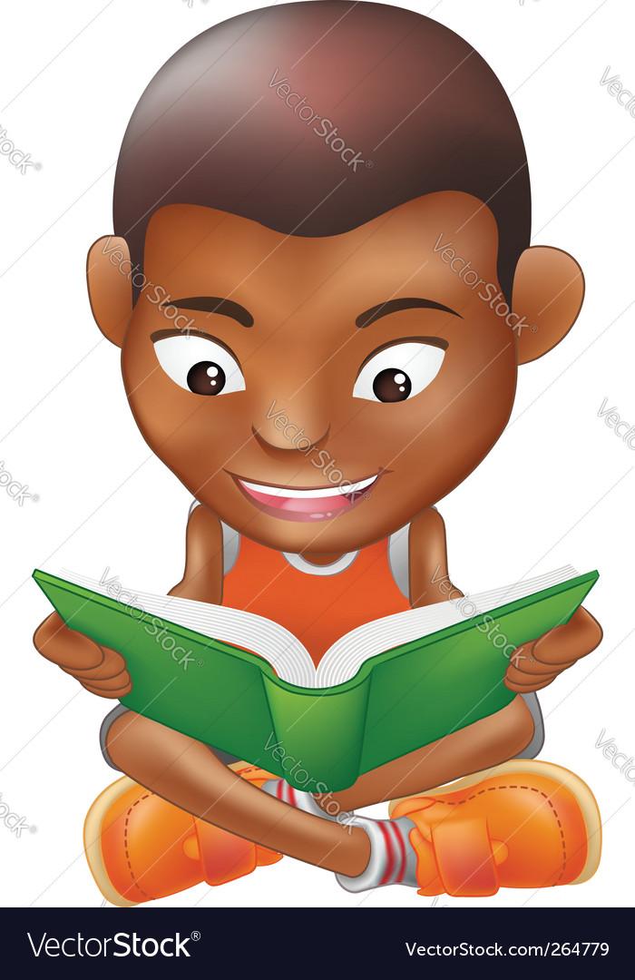 Boy reading a book vector | Price: 1 Credit (USD $1)