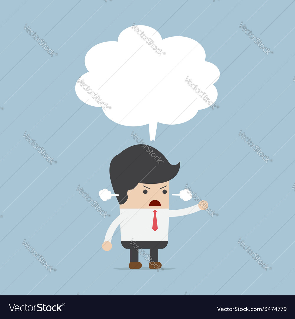 Businessman angry with blank speech vector | Price: 1 Credit (USD $1)