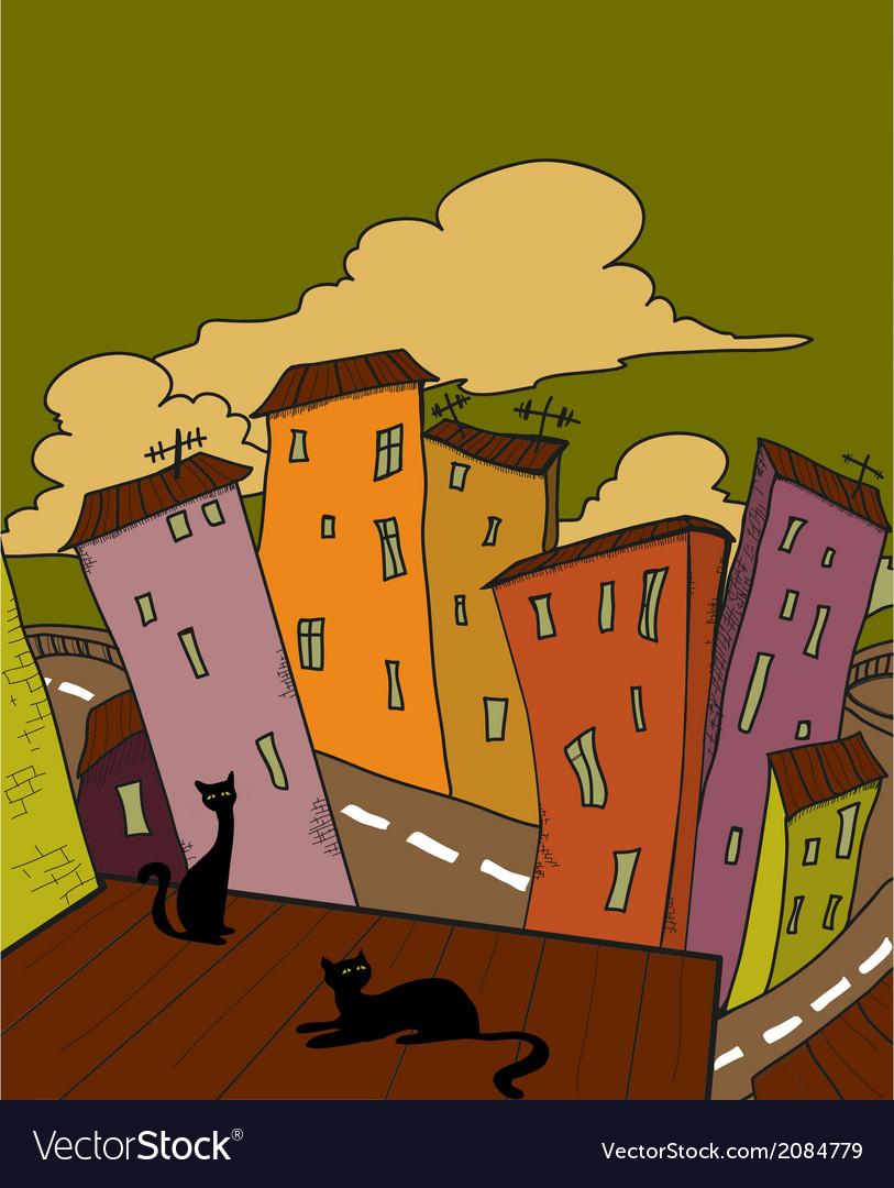 Cat city vector | Price: 1 Credit (USD $1)